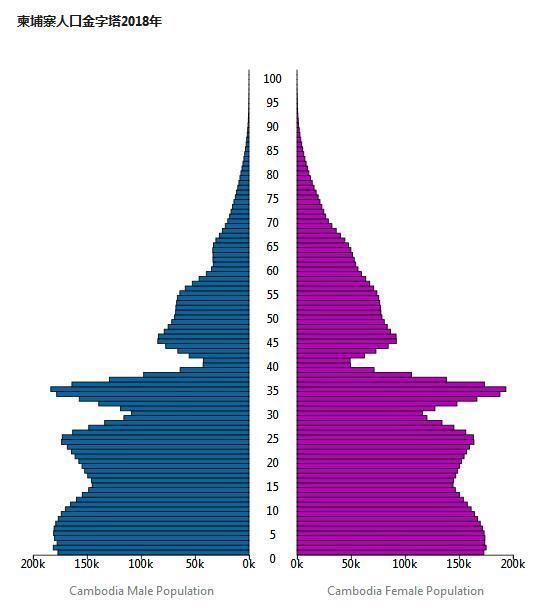 柬埔寨人口金字塔
