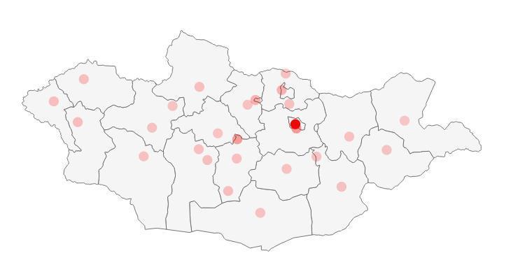 蒙古人口聚集图